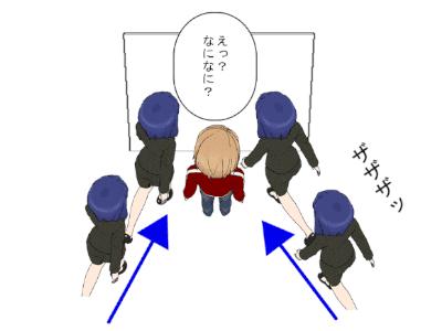 ドアの前に立つ